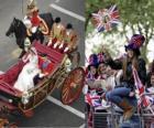 British Royal Wedding zwischen Prinz William und Kate Middleton, Wandern in den Wagen von den Bürgern acalamados