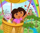 Dora die Explorer und ihrem Affen Freund Boots im Ballon
