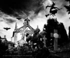 Friedhof am Tag des Halloween