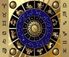 Die zwölf Zeichen des Tierkreises, der Zodiac-Rad