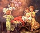 Mehrere Engel mit Baby Jesus