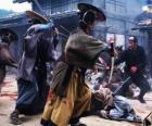 Mehrere Samurai kämpft