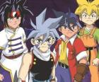 Bladebreakers Team Tyson Granger, Kai Hiwatari, Ray Kon und Max Tate