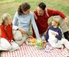 Picknick in der natur zu genießen und die natur der lebensmittel