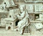 Kopist mönche arbeit mit feder und tinte auf pergament oder papier in der schreibstube