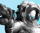Mr. Freeze mit seiner kalten Waffe. Die böse Wissenschaftler ist ein Feind von Batman