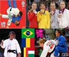 Podium Judo Damen - 48 kg, Sarah Menezes (Brasilien), Alina Dumitru (Rumänien), Charline Van Snick (Belgien) und Eva Csernoviczki (Ungarn) - London 2012 -