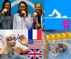 Schwimmen Frauen 400 m Freistil Podium, Camille Muffat (Frankreich), Allison Schmitt (USA) und Rebecca Adlington (Vereinigtes Königreich) - London 2012 -