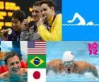 Schwimmen 400 m Lagen Herren Podium, Ryan Lochte (USA), Thiago Pereira (Brasilien) und Kosuke Hagino (Japan) - London 2012-