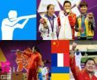 Podium schießen, Frauen 10 m Luftpistole, Guo Wenjun (China), Céline Goberville (Frankreich) und Olena Kostevych (Ukraine) - London 2012-