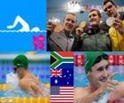 Podium Schwimmen schwimmen 100 m Brust Männer, Cameron van der Burgh (Südafrika), Christian Sprenger (Australien) und Brendan Hansen (USA) - London 2012 - Stil