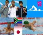 Schwimmen 200 m Schmetterling Männer, Chad le Clos (Südafrika), Michael Phelps (USA) und Takeshi Matsuda (Japan) - London 2012 - Podium