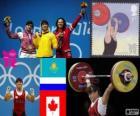 Frauen bis 63 kg im Gewichtheben Podium, Maiya Maneza (Kasachstan), Svetlana Tsarukayeva (Russland) und Christine Girard (Kanada) - London 2012-