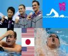 Swimming men's 200 metre backstroke podium, Tyler Clary (Vereinigte Staaten), Ryosuke Irie (Japan) und Ryan Lochte (USA) - London 2012-