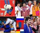 Podium Judo Männer - 100 kg, Tagir Khaibulaev (Russland), Tüwschinbajar Naidan (Mongolei) und Dimitri Peters (Deutschland), Henk Grol (Niederlande) - London 2012-