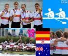 Podium Rudern Abschnitt bearbeiten männer, Deutschland, Kroatien und Australien - London 2012 -