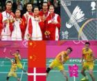 Badminton Mixed-Doppel Podium, Zhang Nan und Zhao Yunlei (China), Xu Chen, Ma-Jin (China) und Joachim Fischer/Christinna Pedersen (Dänemark) - London 2012 -