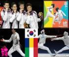 Podium Herren Team Säbel, Korea Süd, Rumänien, Italien - London 2012 - Fechten