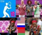 Damen Einzel Tennis Podium, Serena Williams (USA), Maria Sharapova (Russland) und Victoria Azarenka (Weißrussland) - London 2012-