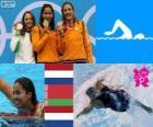 Podium schwimmen 50 m Freistil, Marleen Veldhuis, Ranomi Kromowidjojo (Niederlande) und Aliaxandra Herasimenia (Belarus) (Niederlande) - London 2012-