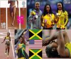 Podium Leichtathletik 100 m Frauen, Shelly-Ann Fraser-Pryce (Jamaika), Carmelita Jeter (USA) und Veronica Campbell-Brown (Jamaika), London 2012