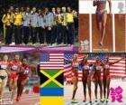 Leichtathletik Frauen 4 x 100 m Podium, USA, Jamaika und Ukraine, London 2012