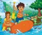 Diego und seiner Mutter in einem Schlauchboot