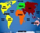 Weltkarte mit Kontinenten und Ozeanen