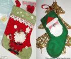 Weihnachten Socken dekoriert mit Weihnachtsmann