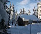 Kabine aus Holz eine heftige Schneefälle
