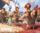 Die sechs Mitglieder der Familie Croods