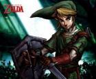 Link mit Schwert und Schild in die Abenteuer von The Legend of Zelda Videospiel