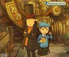 Professor Layton und sein Assistent Luke Triton, Protagonisten des Geheimnisses und Puzzle-Spiele für Nintendo