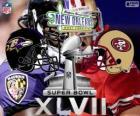 Super Bowl 2013. San Francisco 49ers vs. die Baltimore Ravens. Superdome, New Orleans