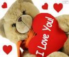 Teddybär mit Herz zum Valentinstag