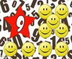 Nummer 9 in einem stern mit neun smiles oder lächeln