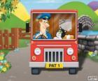 Postbote Pat mit seiner Katze Jess in der Distribution von Briefen
