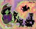 Hexe mit ihren schwarzen Katzen