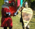 Zwei soldaten im Kampf mit Schwert und Schild