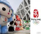 Logo und Maskottchen der Olympischen Spiele Peking 2008, Beibei, Jingjing, Huanhuan, Yingying und Nini, besuchte von 10942 Athleten aus 204 Ländern