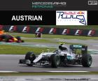 Nico Rosberg zweiter in der Großer Preis von Großbritannien 2016 mit seinen Red Bull durch eine Strafe von 10 Sekunden geht auf die dritte position