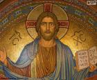 Bild von Jesus mit der Bibel in seiner linken Hand geöffnet