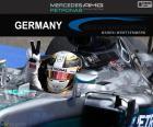 Lewis Hamilton feiert seinen sechsten Sieg der Saison in der Großer Preis von Deutschland 2016