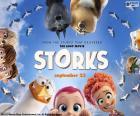 Original in Englisch Storks, Störche Abenteuer im Anflug, ein Animationsfilm über die Legende der Störche und die Babys logo
