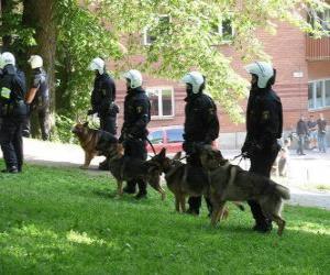 Riot Polizeibeamte mit Hunden puzzle