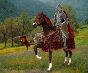 Ritter mit helm und rüstung und mit seinem speer fertig montiert auf seinem pferd puzzle