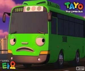 ROGI ist eine lustige und spitzbübisch grünen bus puzzle