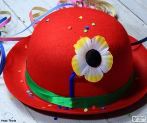 Rot-Bowler-Hut mit einer Blume puzzle