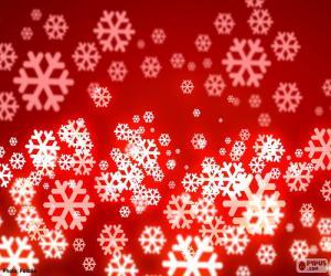 Roter Hintergrund Schneeflocken puzzle