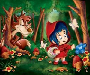 Rotkäppchen im Wald mit dem Wolf versteckt zwischen den Bäumen puzzle
